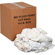 Global Industrial™ Premium Recycled White Cotton Terry Cut Rags, 10 Lb. Box