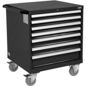 "Global™ Mobile Modular Drawer Cabinet, 7 Drawers, w/Lock, w/o Dividers, 30x27x36-7/10""H, Black"