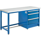 """Global Industrial™ 72""""W x 30""""D Modular Workbench with 3 Drawers, ESD Laminate Safety Edge, Blue"""