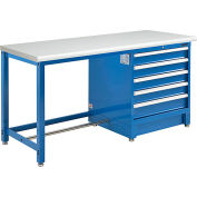 """Global Industrial™ 72""""W x 30""""D Modular Workbench with 5 Drawers, ESD Laminate Safety Edge, Blue"""