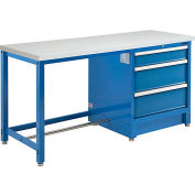 """Global Industrial™ 72""""W x 30""""D Modular Workbench with 3 Drawers, ESD Laminate Square Edge, Blue"""
