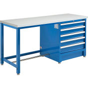 """Global Industrial™ 72""""W x 30""""D Modular Workbench with 5 Drawers, ESD Laminate Square Edge, Blue"""