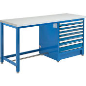 """Global Industrial™ 72""""W x 30""""D Modular Workbench with 7 Drawers, ESD Laminate Square Edge, Blue"""