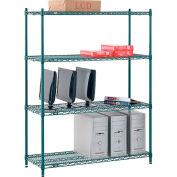 "Nexel® Poly-Green®, 4 Tier, Wire Shelving Starter Unit, 48""W x 12""D x 63""H"