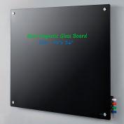 "Magnetic Glass Dry Erase Board - 48 x 36"" - Black"