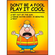 """Accuform SP125032 Safety Poster, DON'T BE A FOOL PLAY IT COOL, 22""""H x 17""""W, Poster Paper"""