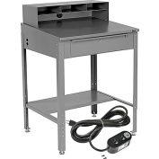"Global Industrial™ Sloped Shop Desk w / Pigeonhole Riser &Outlets, 34-1/2'W x 30""D, Gray"