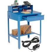 "Global Industrial™ Sloped Shop Desk w/ Pigeonhole Riser & Outlets, 34-1/2""W x 30""D, Blue"