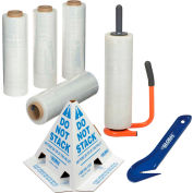 Global Industrial™ Pallet of Stretch Wrap with Dispenser, Film Cutters & Pallet Cones