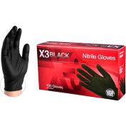 Ammex® BX34 Powder-Free Industrial Grade Nitrile Gloves, Black, 3 MIL, Textured, Large