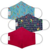 Reusable Youth Cloth Face Mask, Washable, 3-Layer Contour, Teachers Pet Print, 3/Pack