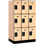 "Salsbury Designer Wood Locker 33351 - Triple Tier 3 Wide 12""W x 21""D x 20""H Maple"