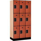 "Salsbury Designer Wood Locker 33368 - Triple Tier 3 Wide 12""W x 18""D x 24""H Cherry"