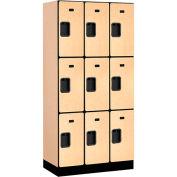 "Salsbury Designer Wood Locker 33368 - Triple Tier 3 Wide 12""W x 18""D x 24""H Maple"