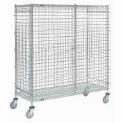 """Wire Shelf Security Truck, Chrome, 18""""W x 48""""L x 69""""H, Polyurethane, 4 Swivel Casters"""