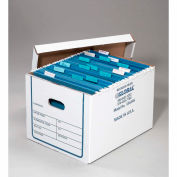 """Connecticut Container Transfer File Record Storage Boxes, 15""""L x 12""""W x 10""""H, White, 20/Pack - Pkg Qty 20"""