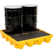 Eagle 1645 4 Drum Low Profile Spill Containment Pallet - Yellow with Drain