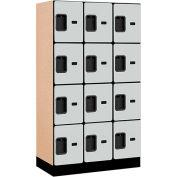 "Salsbury Designer Wood Locker 34358 - Four Tier 3 Wide 12""W x 18""D x 15""H Gray"