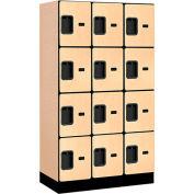 """Salsbury Designer Wood Locker 34358 - Four Tier 3 Wide 12""""W x 18""""D x 15""""H Maple"""