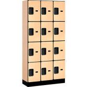 """Salsbury Designer Wood Locker 34365 - Four Tier 3 Wide 12""""W x 15""""D x 18""""H Maple"""