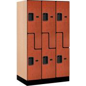 """Salsbury Designer Wood Locker 37351 - Z-Style 3 Wide 12""""W x 21""""D x 60""""H Cherry"""