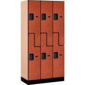 """Salsbury Designer Wood Locker 37368 - Z-Style 3 Wide 12""""W x 18""""D x 72""""H Cherry"""