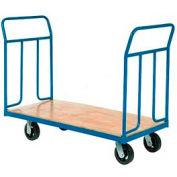 "Wood Deck Platform Truck 6"" Mold-On Rubber Wheels 2400 Lb. Capacity"