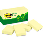 "Post-it® Greener Notes Recycled Notes 653RPYW, 1-1/2"" x 2"", Canary Yellow, 100 Sheets, 12/Pack"