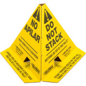 """Global Industrial™ """"Do Not Stack"""" Printed Trilingual Pallet Cones, Yellow, 50/Pack"""