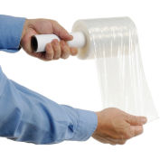 """Global Industrial™ Stretch Wrap Film W/ Extended Core Handle, 80 Gauge, Cast, 5"""" x 1000', Clear - Pkg Qty 12"""