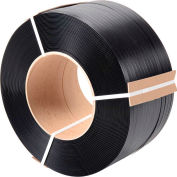 """Global Industrial™ 8"""" x 8"""" Core Polypropylene Strapping, 6000'L x 1/2""""W x 0.030"""" Thick, Black"""
