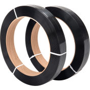 """Global Industrial™ 16"""" x 3"""" Core Polyester Strapping, 3600'L x 1/2""""W, Black - Pkg Qty 2"""