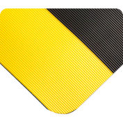 "Wearwell® Corrugated SpongeCote™ Anti Fatigue Mat 1/2"" Thick 3' x 60' Black/Yellow Border"