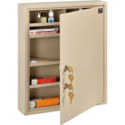 """Global Industrial™ Medical Security Cabinet w/Double Key Locks, 14""""Wx3-1/8""""Dx17-1/8""""H, Beige"""