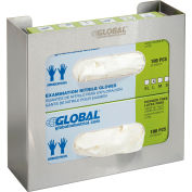 """Global Industrial™ Double Stainless Steel Glove Box Holder, 11""""W x 3-3/4""""D x 10""""H"""