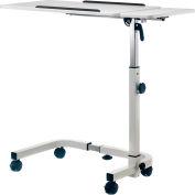 "Global Industrial™ Tilting Adjustable Height Mobile Laptop Desk, 30""W, White"