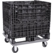 """ORBIS Steel Dolly For Bulk Container DKD-4845 - 48x45 Footprint, 2 Swivel, 2 Rigid 5"""" Casters"""