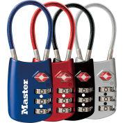 Cadenas à combinaison pour bagages accepté par la TSAMaster Lock® No. 4688D, 2 po l, couleurs assorties, prix unitaire, qté par paquet : 4