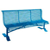 "72"" Heavy Duty Steel Rod Bench with Back - Black"