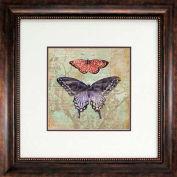 "Crystal Art Gallery - Vintage Butterflies 1 - 26""W x 26""H, Double Mat Framed Art"