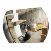 "Roundtangular Acrylic Convex Mirror W/Plastic Back, Indoor, 20""x30"", 160° Viewing Angle"