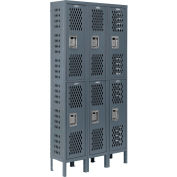 """Global Industrial™ Infinity® Double Tier 6 Dr Ventilated Locker, 12""""Wx18""""Dx36""""H, Assembled"""