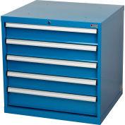"Global Industrial™ Modular Drawer Cabinet, 5 Drawers, w/Lock, 30""Wx27""Dx29-1/2""H, Blue"