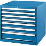 "Global Industrial™ Modular Drawer Cabinet, 7 Drawers, w/Lock, 30""Wx27""Dx29-1/2""H, Blue"