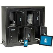 Casier de recharge pour tablettes et téléphones cellulaires Global™, 8 portes avec clé et moraillon et passe-partout