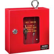 "Global Industrial™ Emergency Key Box, 6-1/4""W x 2""D x 6-7/8""H, Keyed Differently, Red"