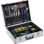 """Global Industrial™ Aluminum Tool Case 18"""" x 14"""" x 6"""" with Tool Panel, Foam and Dividers"""