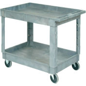 "Global Industrial™ Plastic 2 Shelf Tray Service - Utilitaire Cart 40x26, 5"" Casters en caoutchouc"