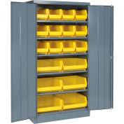 Global Industrial™ Locking Storage Cabinet 36x18x72 - 18 YL Shelf Bins & 5 Shelves Unassembled