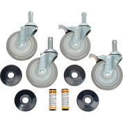 """Nexel® Stainless Steel Stem Casters CA5SBS Set (4) 5"""" Poly 2 With Brakes 1200 Lb."""